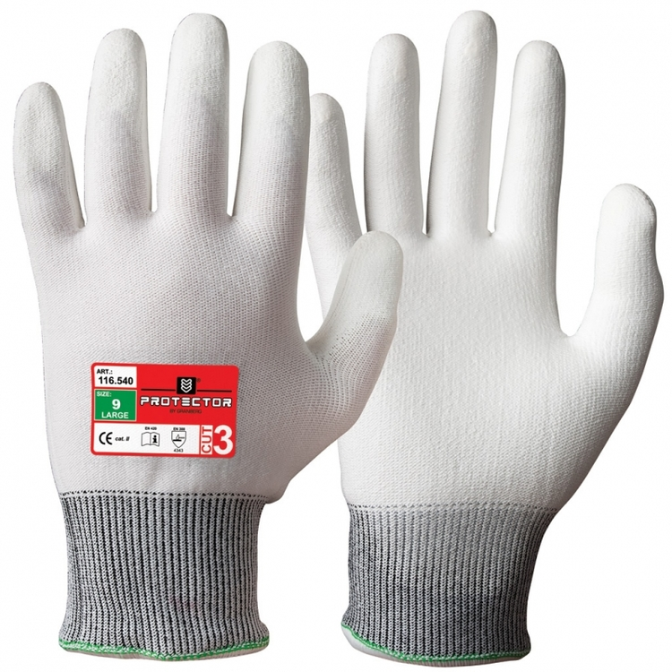 Protector® 12-pack skärskyddshandskar i Typhoon®-fiber med polyuretanbeläggning. 116.540