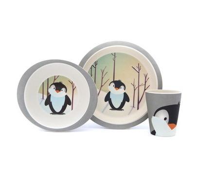 Matservis i bambu - Pingvin