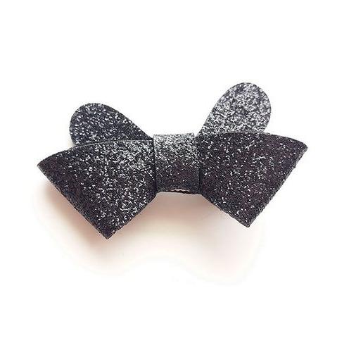 Glitter rosett clips - Svart