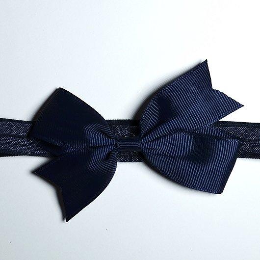 Hårband med rosett - Marinblå