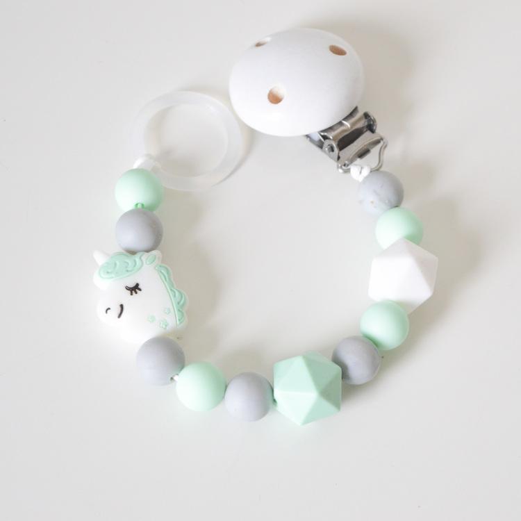 Napphållare i silikon - Mint enhörning