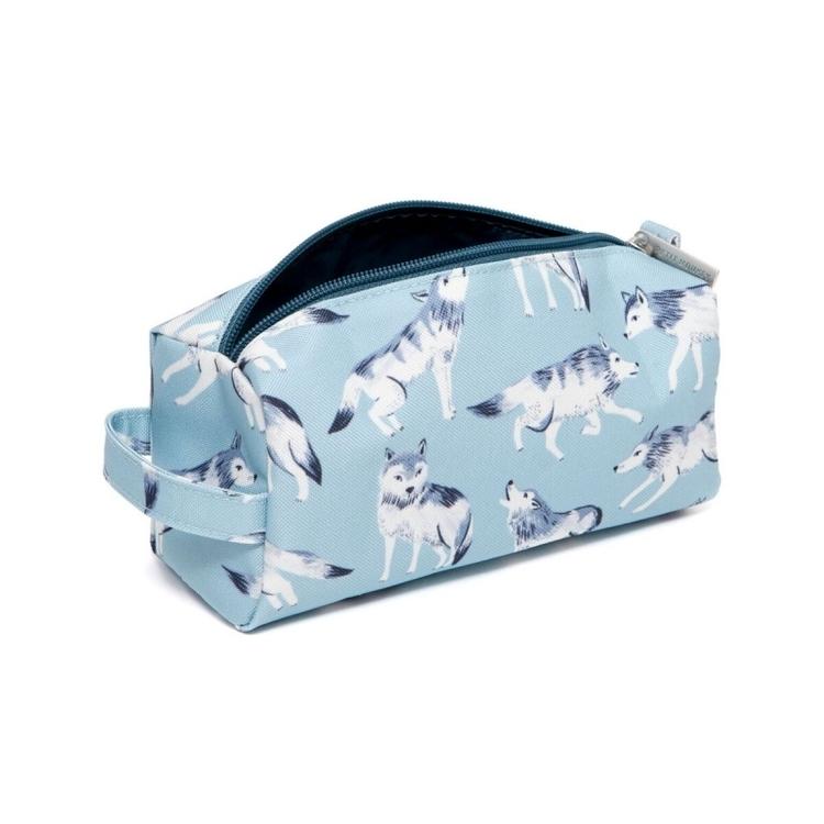 Pennfodral/Necessär-  Blå vargar