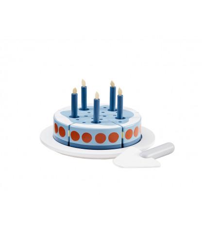 Tårta med ljus - Blå