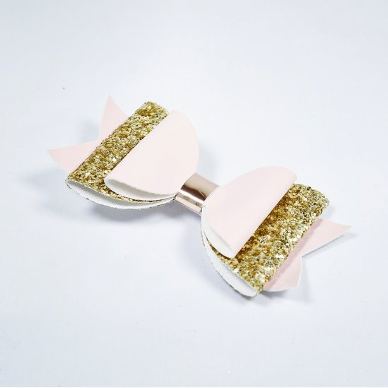 Rosettclips med glitter- Ljusrosa/ guld