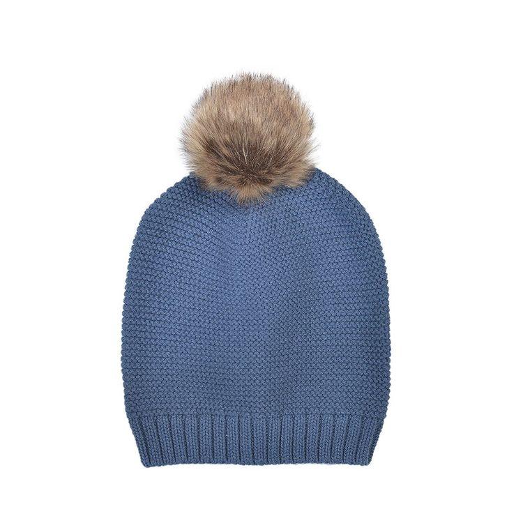 Vårmössa - Marinblå med pompom