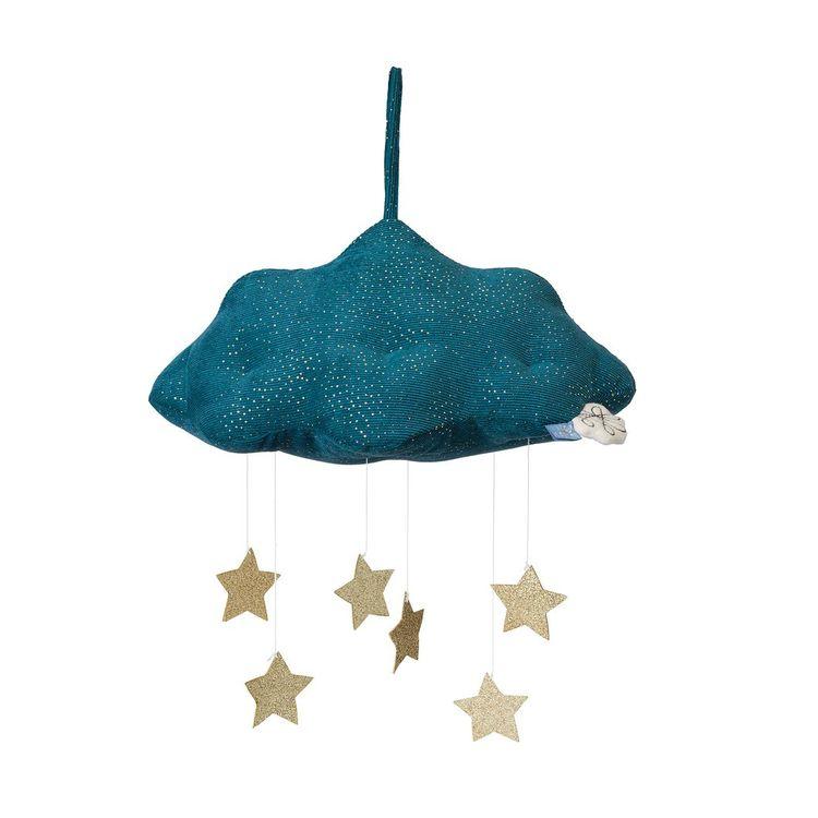 Sängmobil - Turkost moln med stjärnor