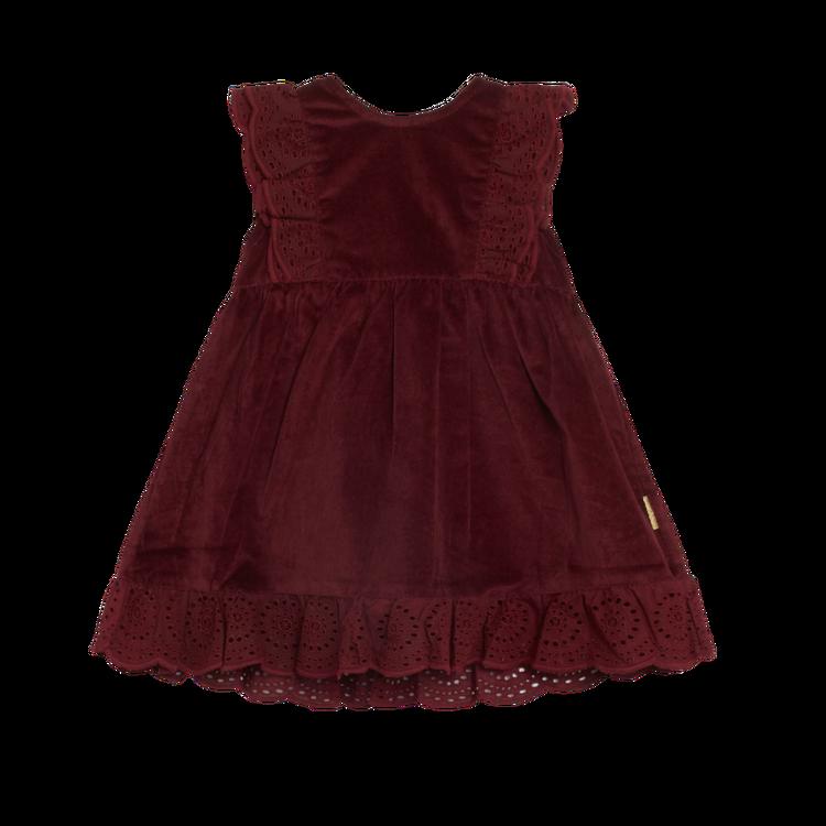 Klänning med spets- Vinröd