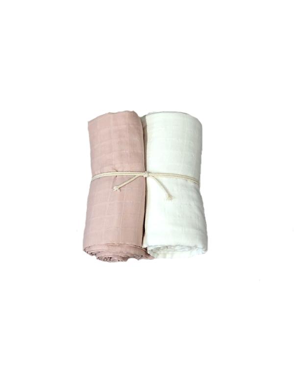 Muslinfilt 2-pack - Rosa/vit