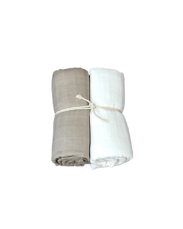 Muslinfilt 2-pack - Vit/linne