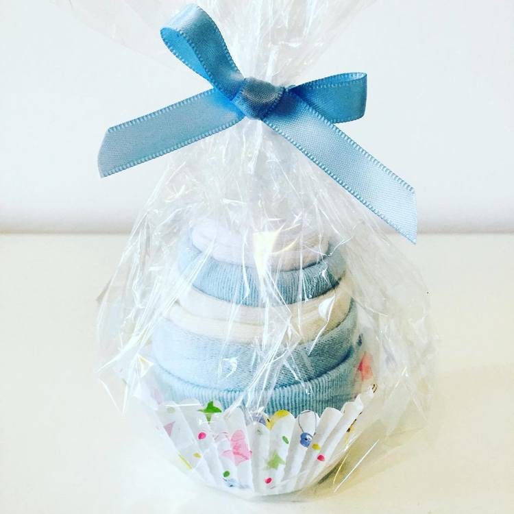 Babysock cupcake Blå