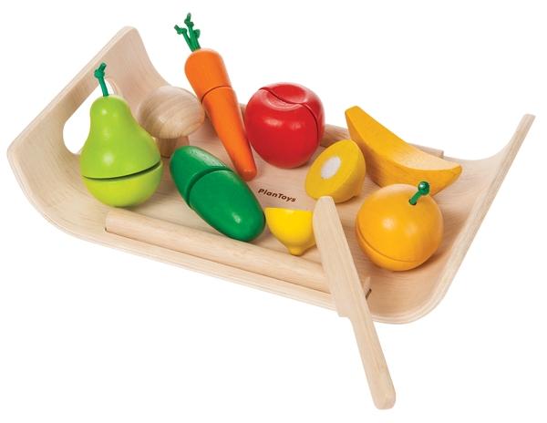 Bricka med frukt och grönsaker i trä, Assorted fruit and vegetable - PlanToys
