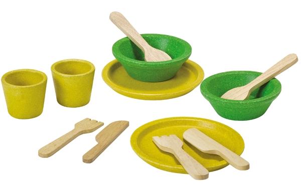 Ekologisk Matservis i trä, Tableware Set - PlanToys
