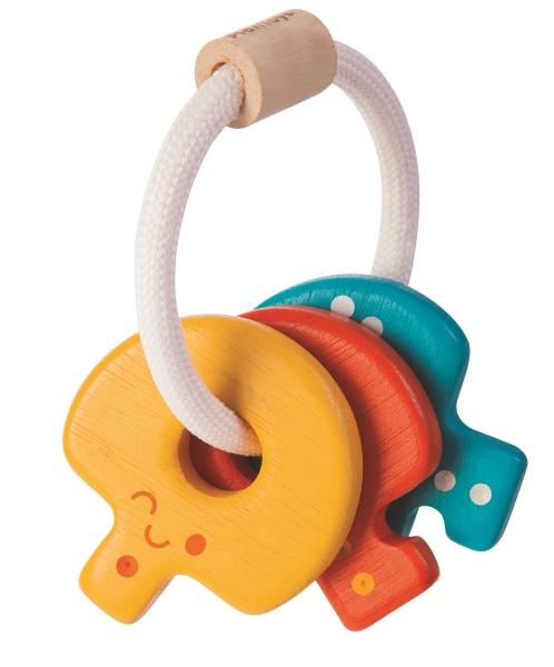 Ekologisk Nyckelknippa i trä, Baby Key Rattle - PlanToys