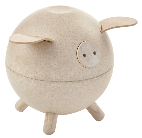 Spargris av trä Natur, Piggy Bank PlanToys