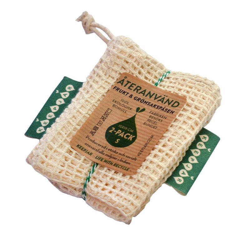 Nätpåse i ekologisk GOTS bomull, 2-pack Small