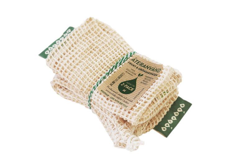 Nätpåse i ekologisk GOTS bomull, 2-pack Medium