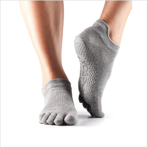 Yogastrumpor Toesox Fulltoe Lowrise Grip - Heather Grey