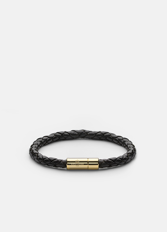 Leather Bracelet Gold 6mm