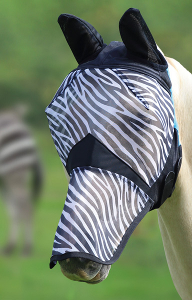Fine Mesh Fly Mask with Ears and Nose - Zebra