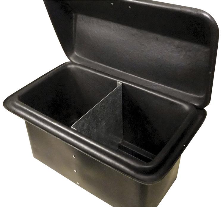 Kista med dubbla fack finns i blå och svart