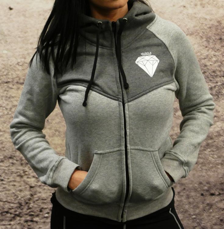 MPinc Lady's Grey Zipper Hoodie