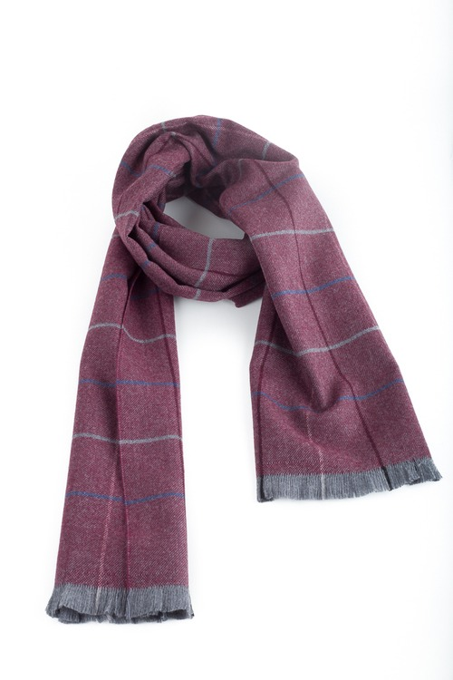 Check Wool Scarf - Burgundy/Navy Blue/Grey