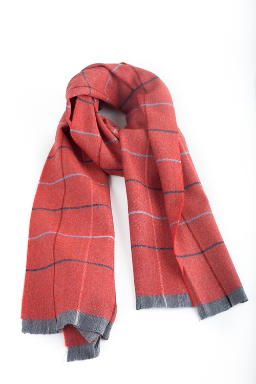 Check Wool Scarf - Orange/Navy Blue/Grey