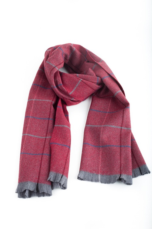 Check Wool Scarf - Red/Navy Blue/Grey