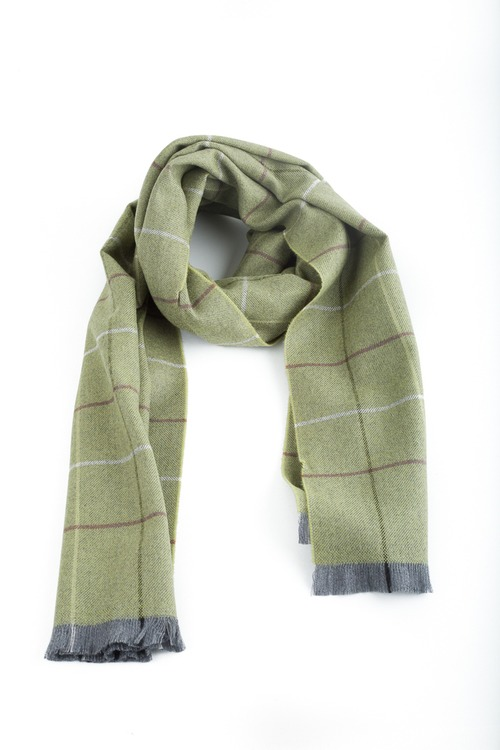 Check Wool Scarf - Green/Purple/Grey