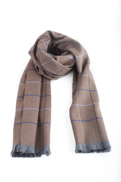 Check Wool Scarf - Beige/Navy Blue/Grey