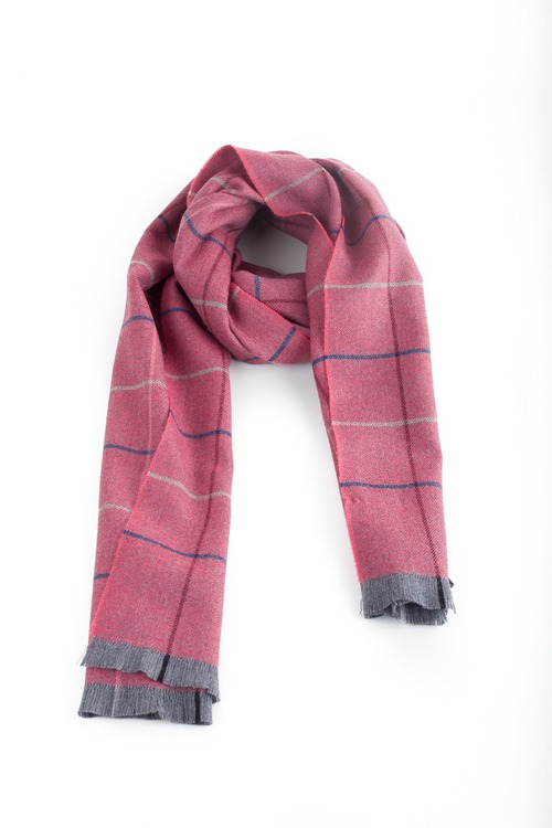 Check Wool Scarf - Pink/Navy Blue/Grey