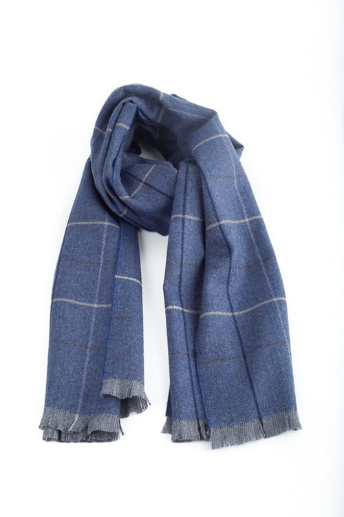 Check Wool Scarf - Mid Blue/Navy Blue/Grey