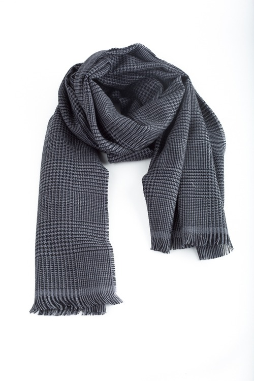 Glencheck Wool Scarf - Grey/Navy Blue