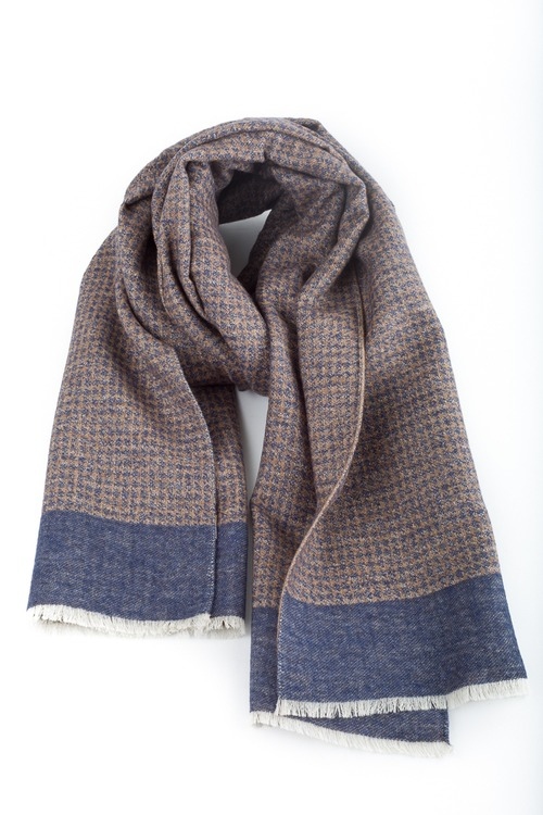 Wool/Silk Dogtooth Scarf - Grey/Beige