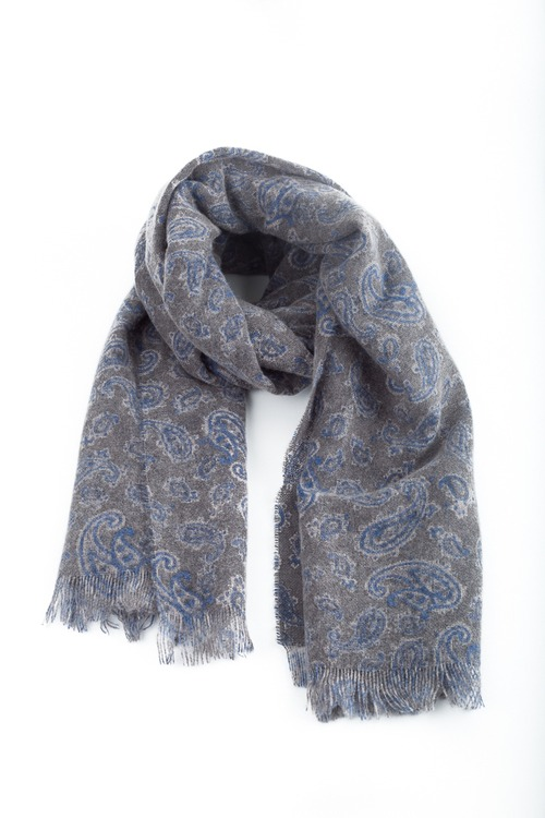 Thin Cashmere Paisley - Grey/Blue