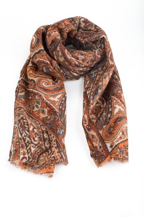 Wool Paisley - Orange/Beige/Brown/Blue