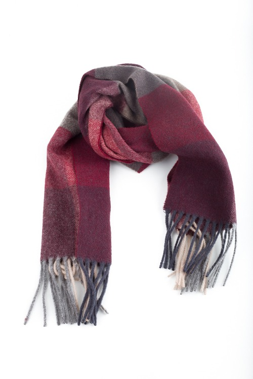 Wool Plaide - Grey/Burgundy/Pink