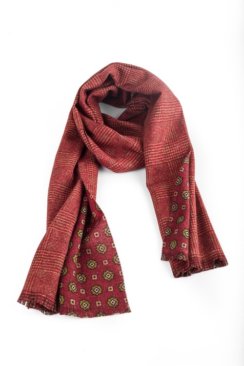 Medallion/Plaid Wool Scarf - Double - Rust/Green