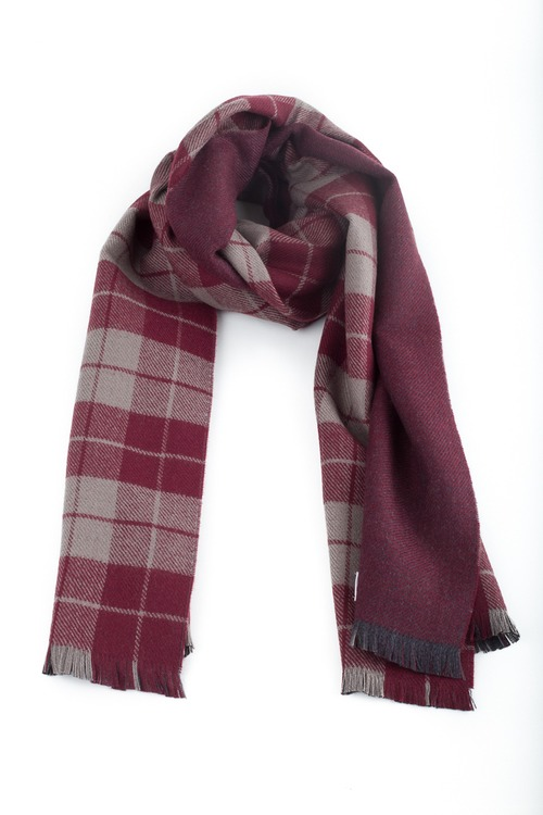 Wool Plaide/Solid Double - Burgundy/Beige