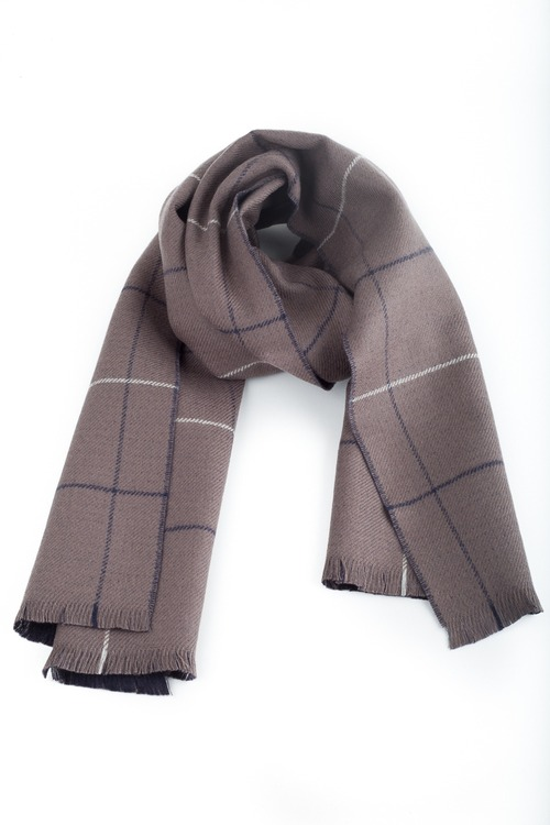 Wool Plaid/Solid Double - Beige/Navy Blue/Light Blue