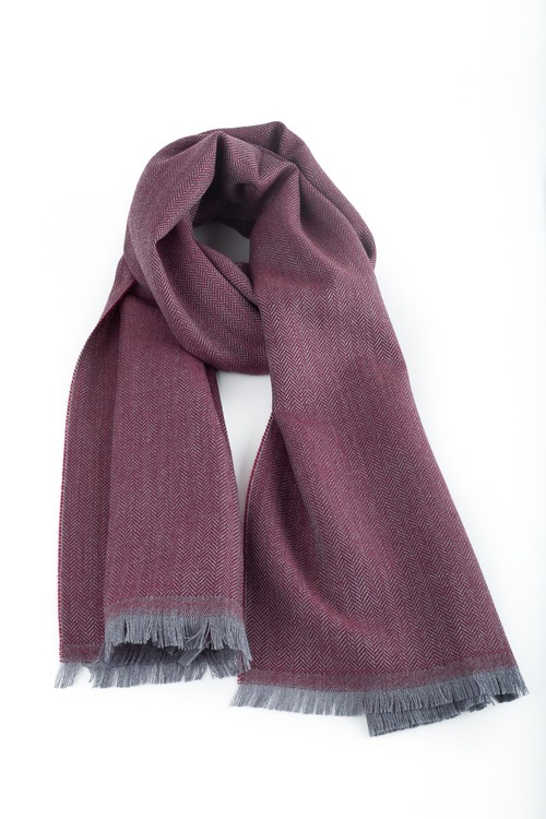 Herringbone Wool Scarf - Burgundy/Grey
