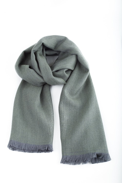 Herringbone Wool Scarf - Olive Green/Grey