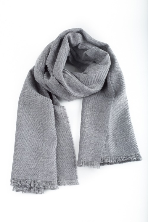 Solid Textured Wool Scarf - Grey