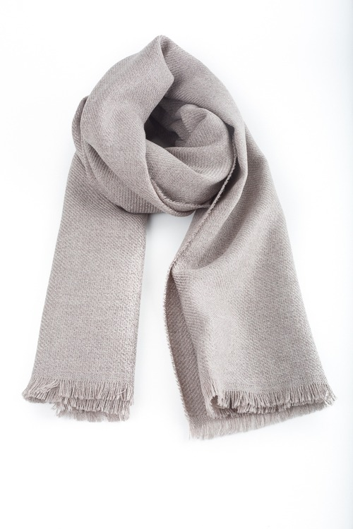 Solid Textured Wool Scarf - Beige