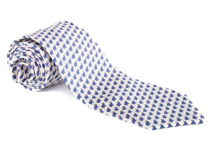 Elephant Printed Silk Tie - White/Navy Blue