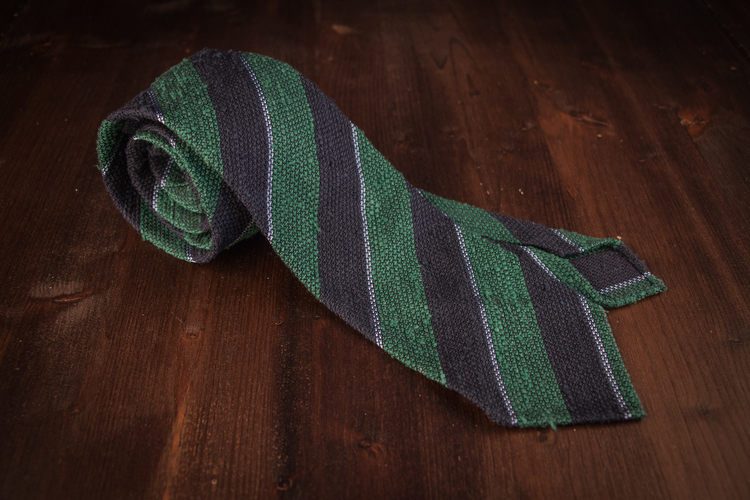 Regimental Shantung Grenadine Tie - Untipped - Navy Blue/Green