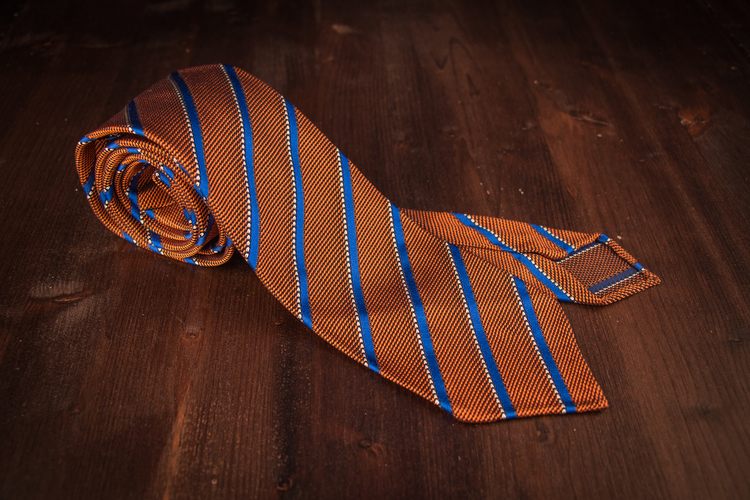 Untipped Regimental Grenadine - Orange/Blue