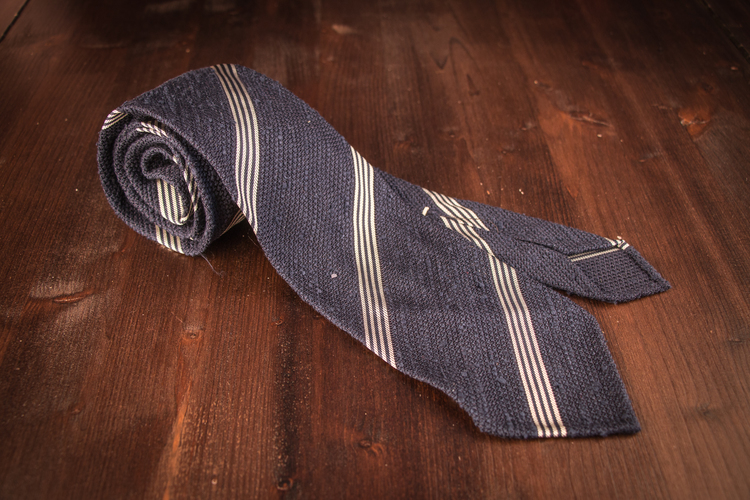 Regimental Shantung Grenadine Tie - Untipped - Navy Blue/White