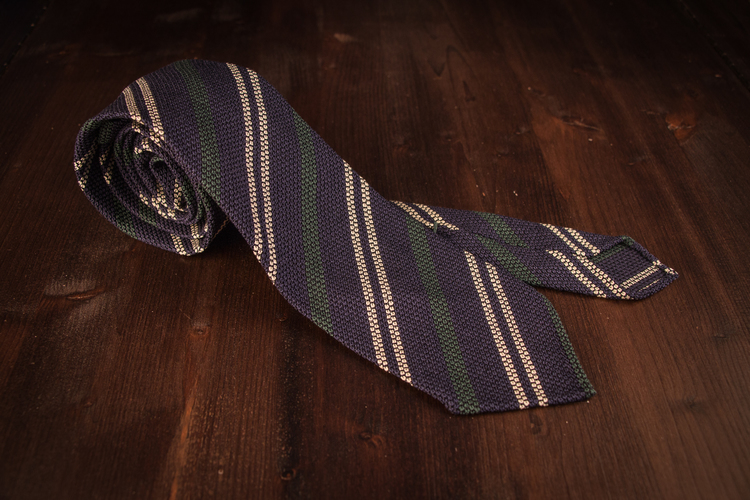Untipped Regimental - Navy Blue/Green/White