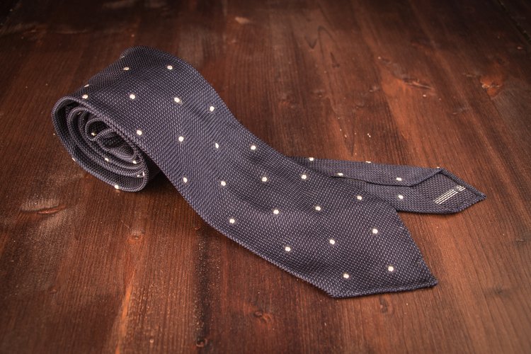 Polka Dot Silk Grenadine Tie - Untipped - Navy/White